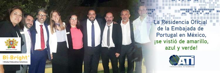 La Embajada de Portugal en México, ¡se vistió de amarillo, azul y verde!